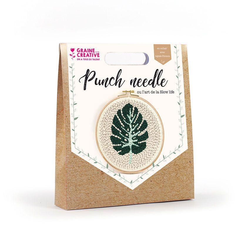 Coffret punch needle feuille tropicale D20cm