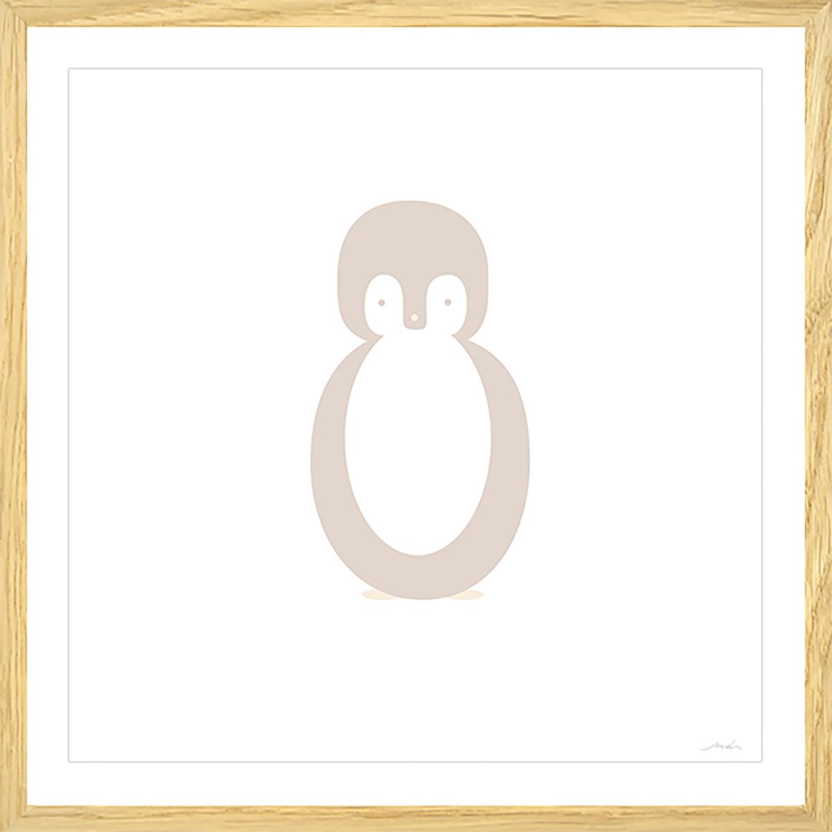 Affiche sous cadre bois enfant pingouin story 50x50cm