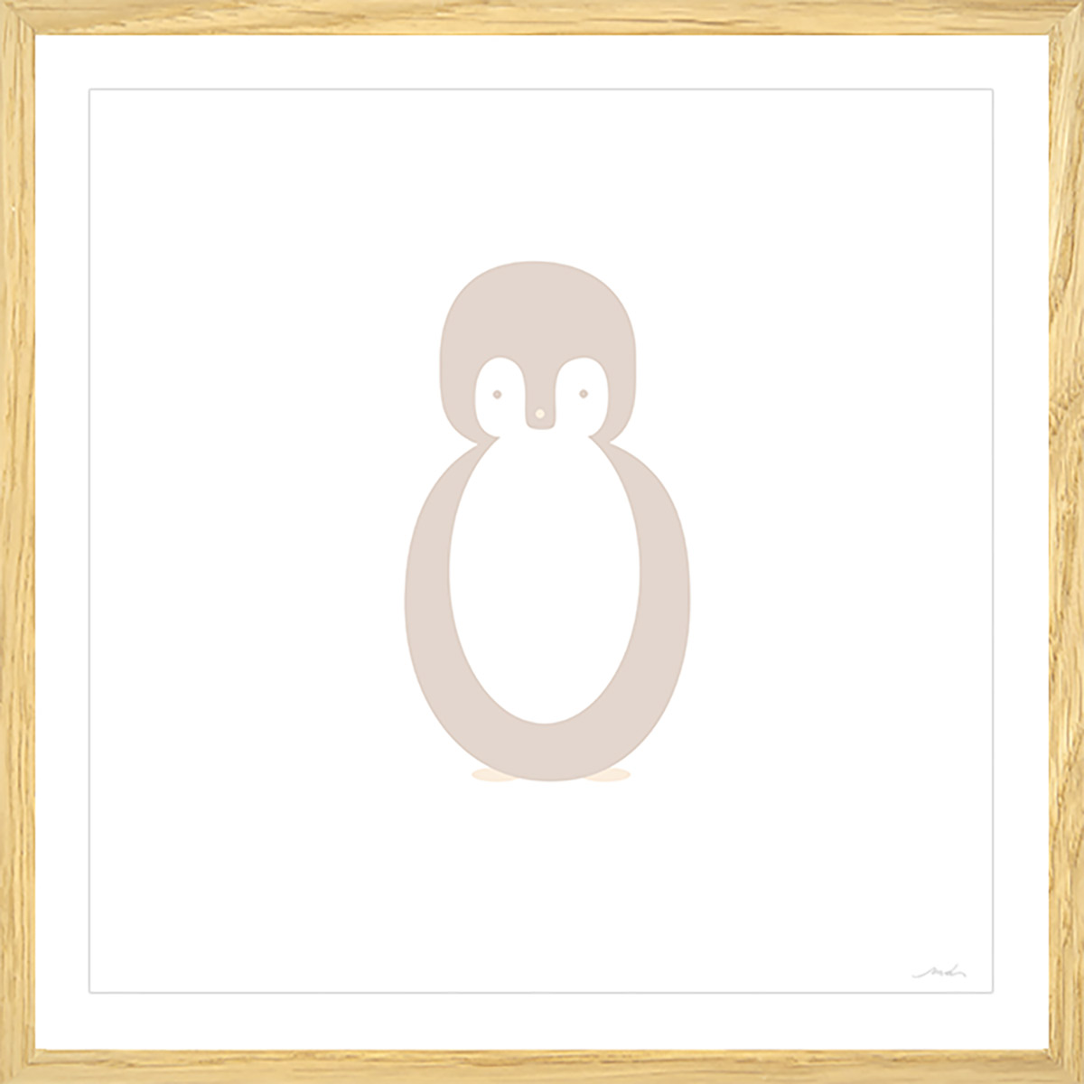 Affiche sous cadre bois enfant pingouin story 80x80cm