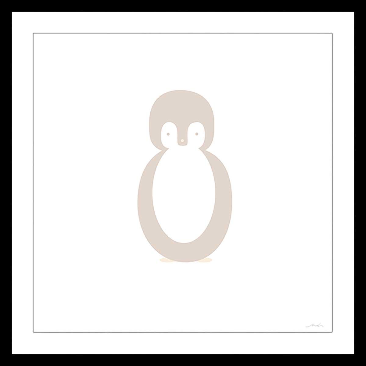 Affiche sous cadre noir enfant pingouin story 80x80cm