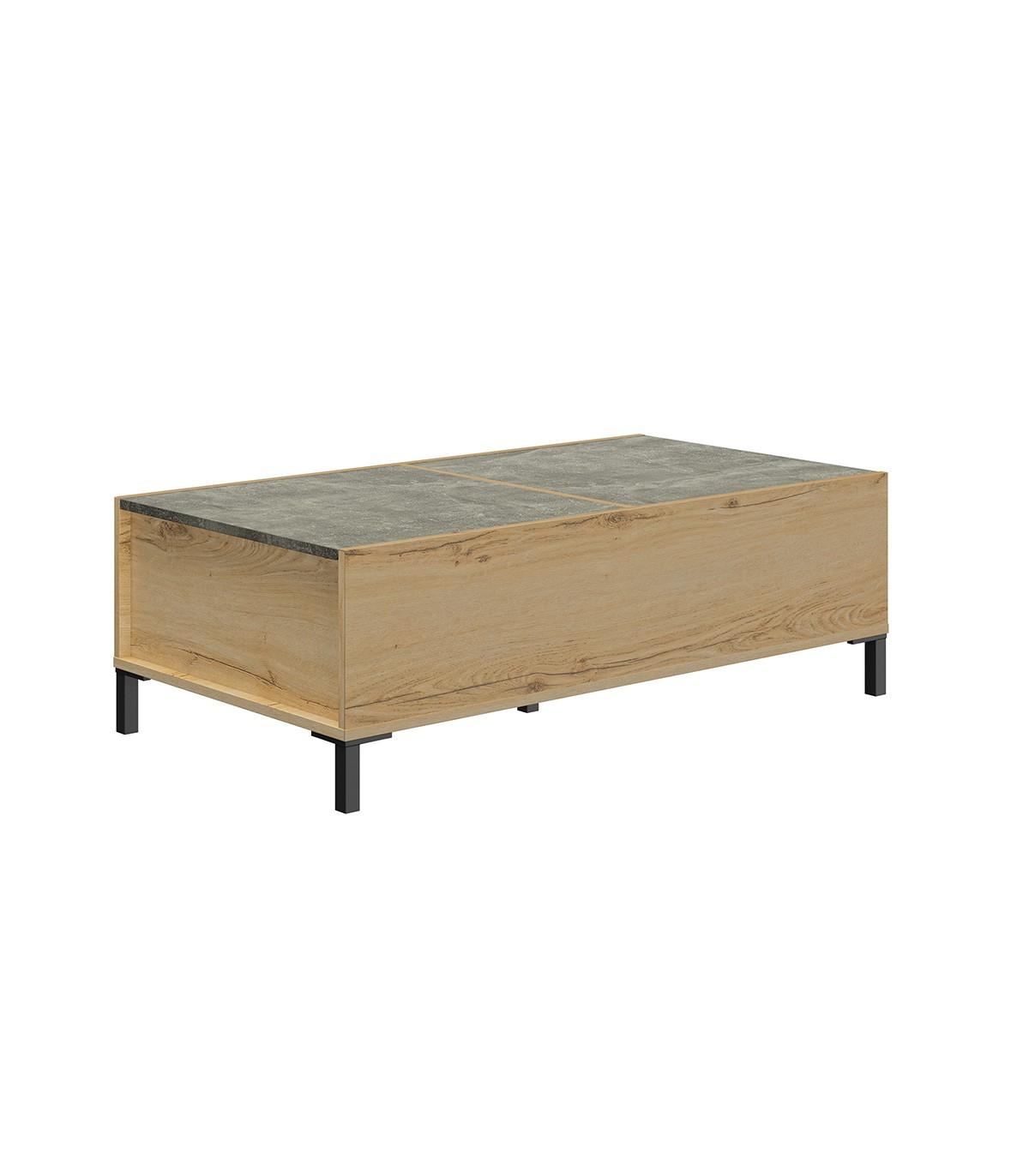 Table basse avec Plateaux coulissants - Décor chêne et béton