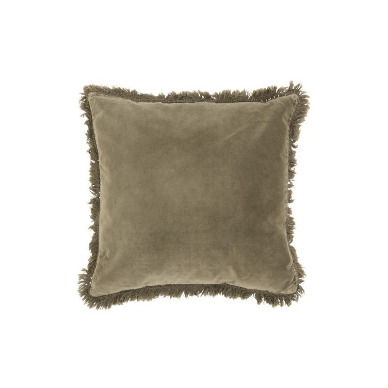 Coussin bord long coton/lin vert olive 45x45