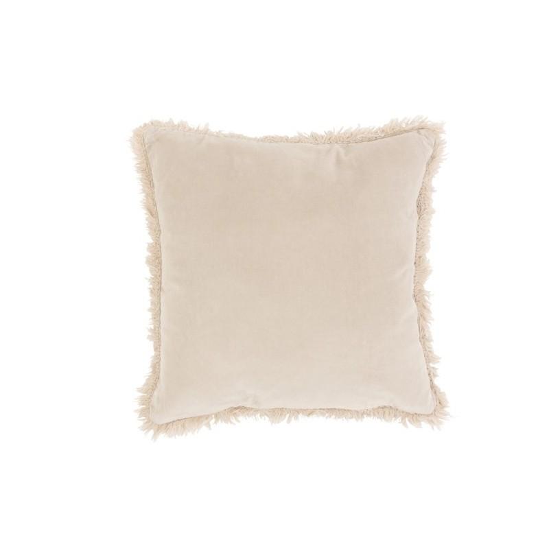 Coussin bord long coton/lin beige/gris 45x45
