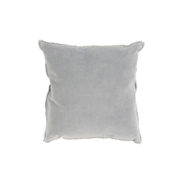 Coussin bord court coton/lin bleu clair 45x45