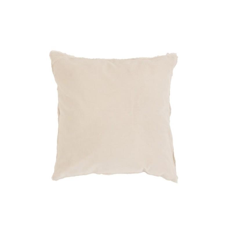 Coussin bord court coton/lin blanc 45x45