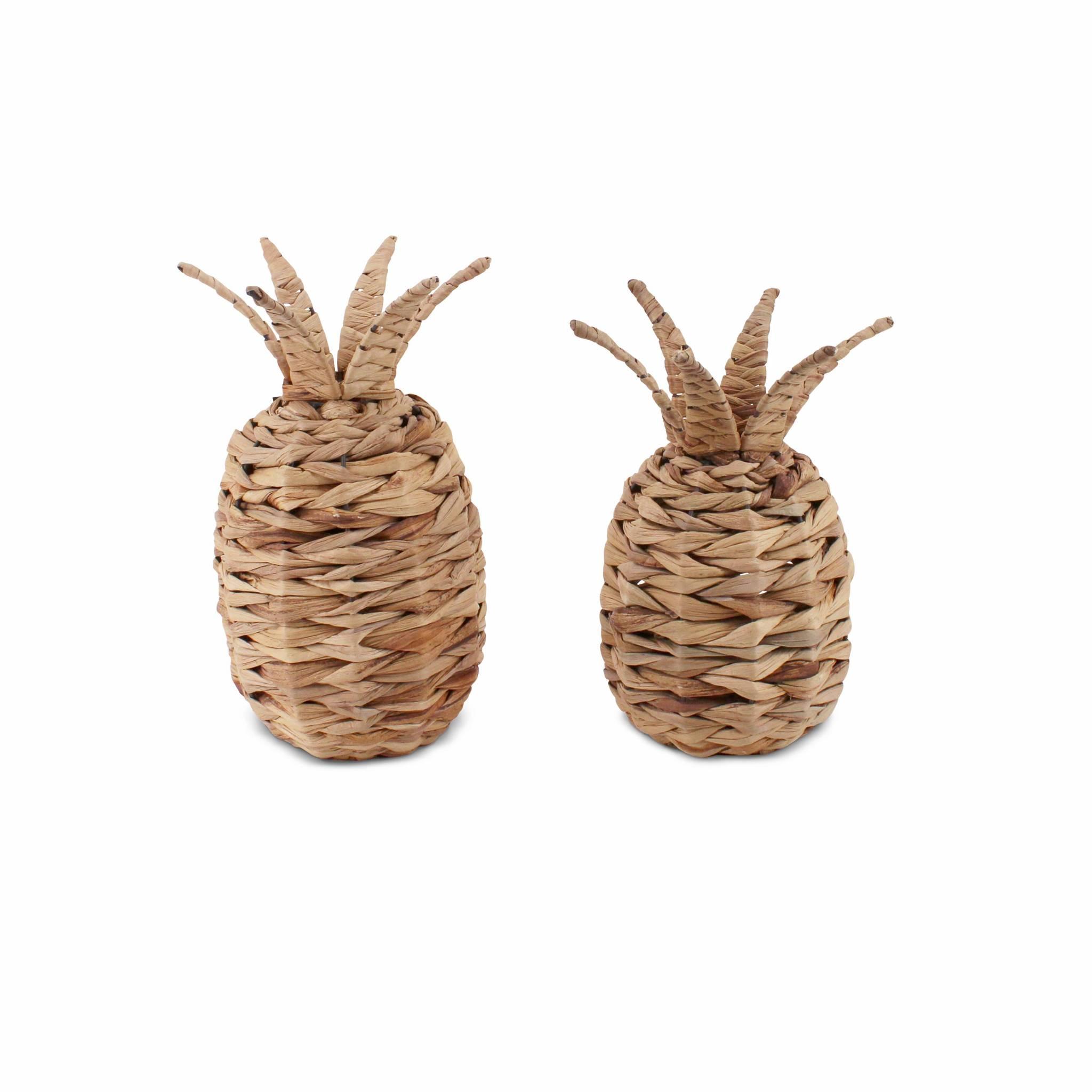 Lot de 2 ananas en jonc, décoration intérieur / extérieur