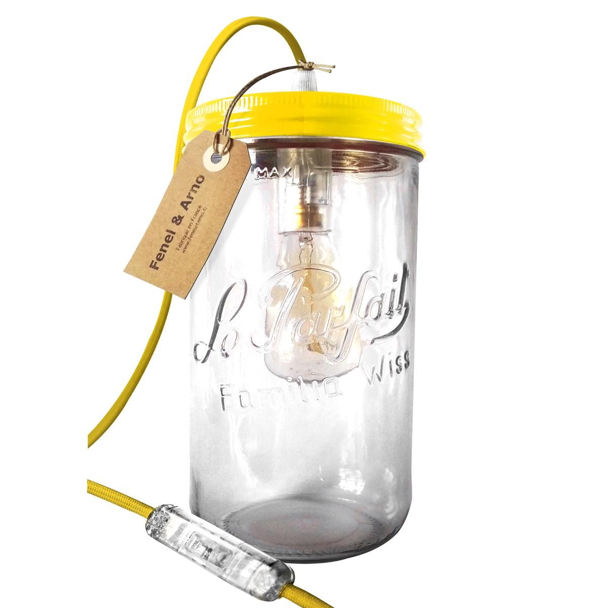 Lampe bocal XL en verre jaune