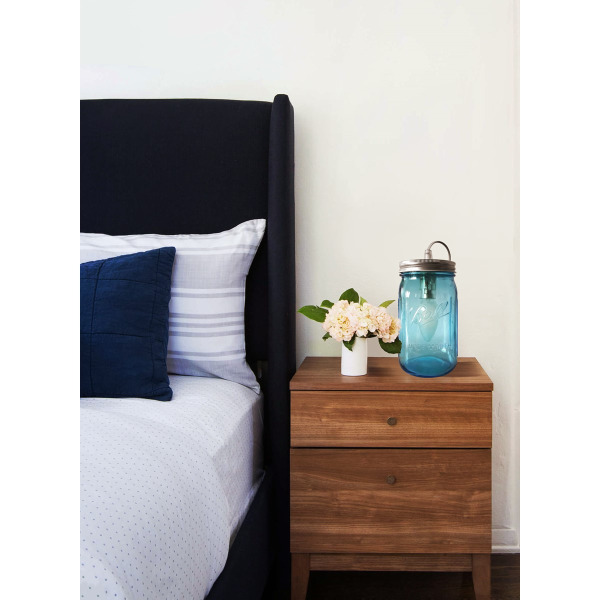 Lampe bocal en verre bleu clair