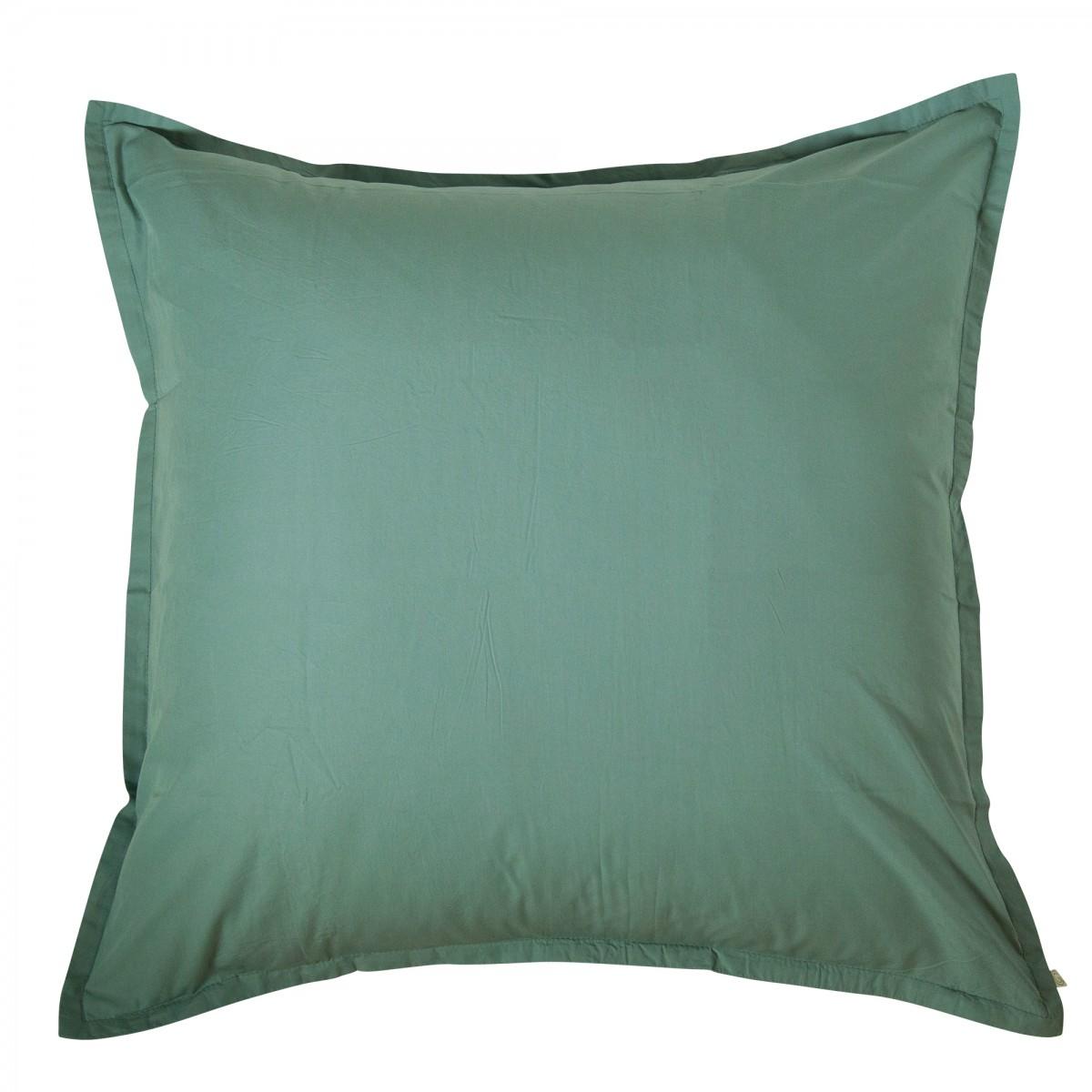 Taie d'oreiller en coton lavé vert 65x65