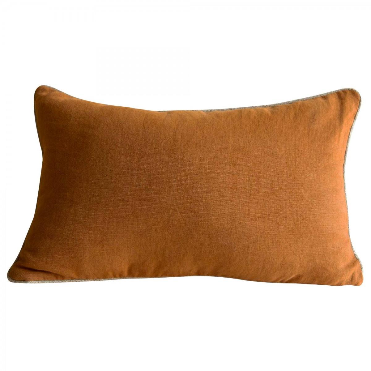 Housse de coussin en lin marron caramel 40x65