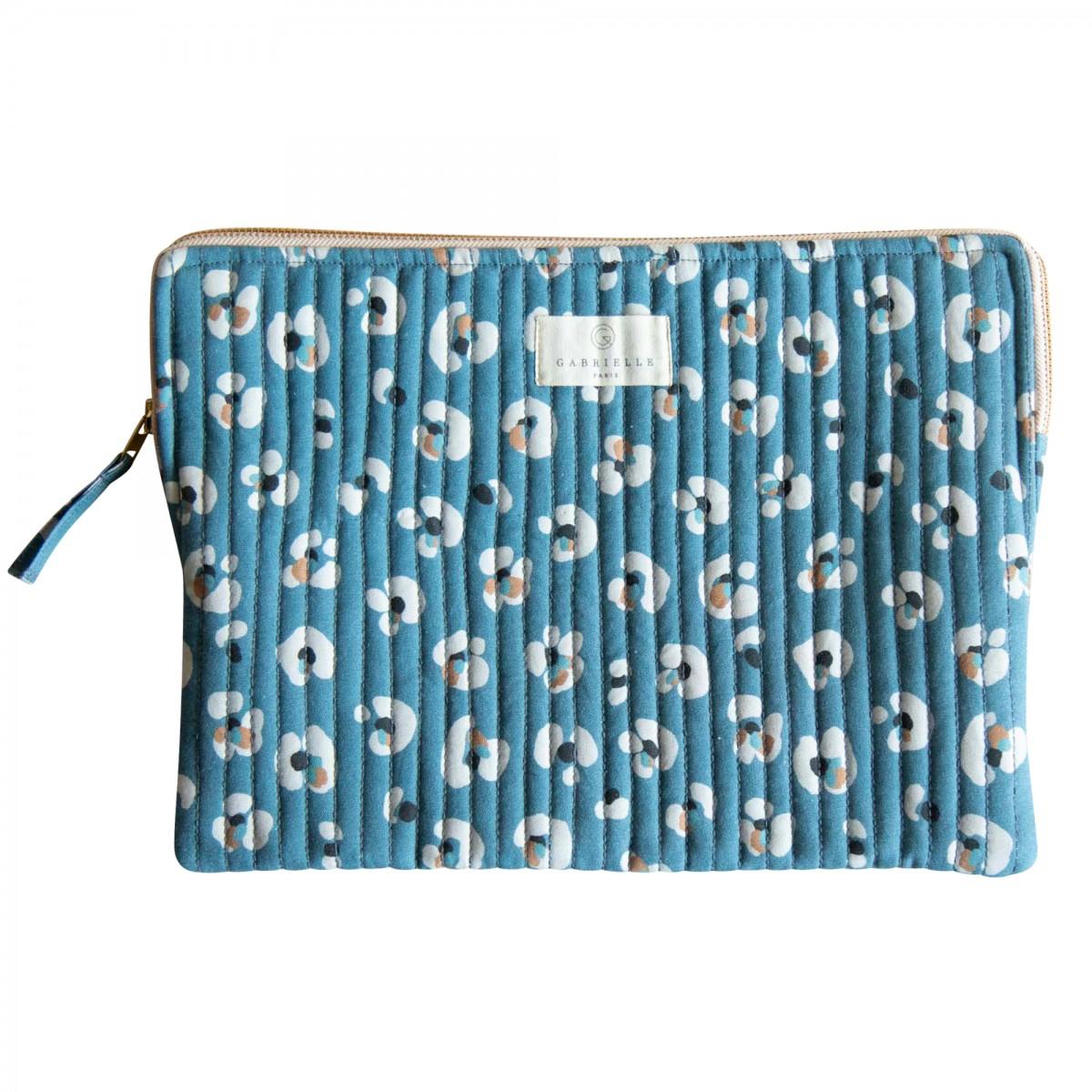 Pochette ordinateur en coton imprimé léopard bleu foncé