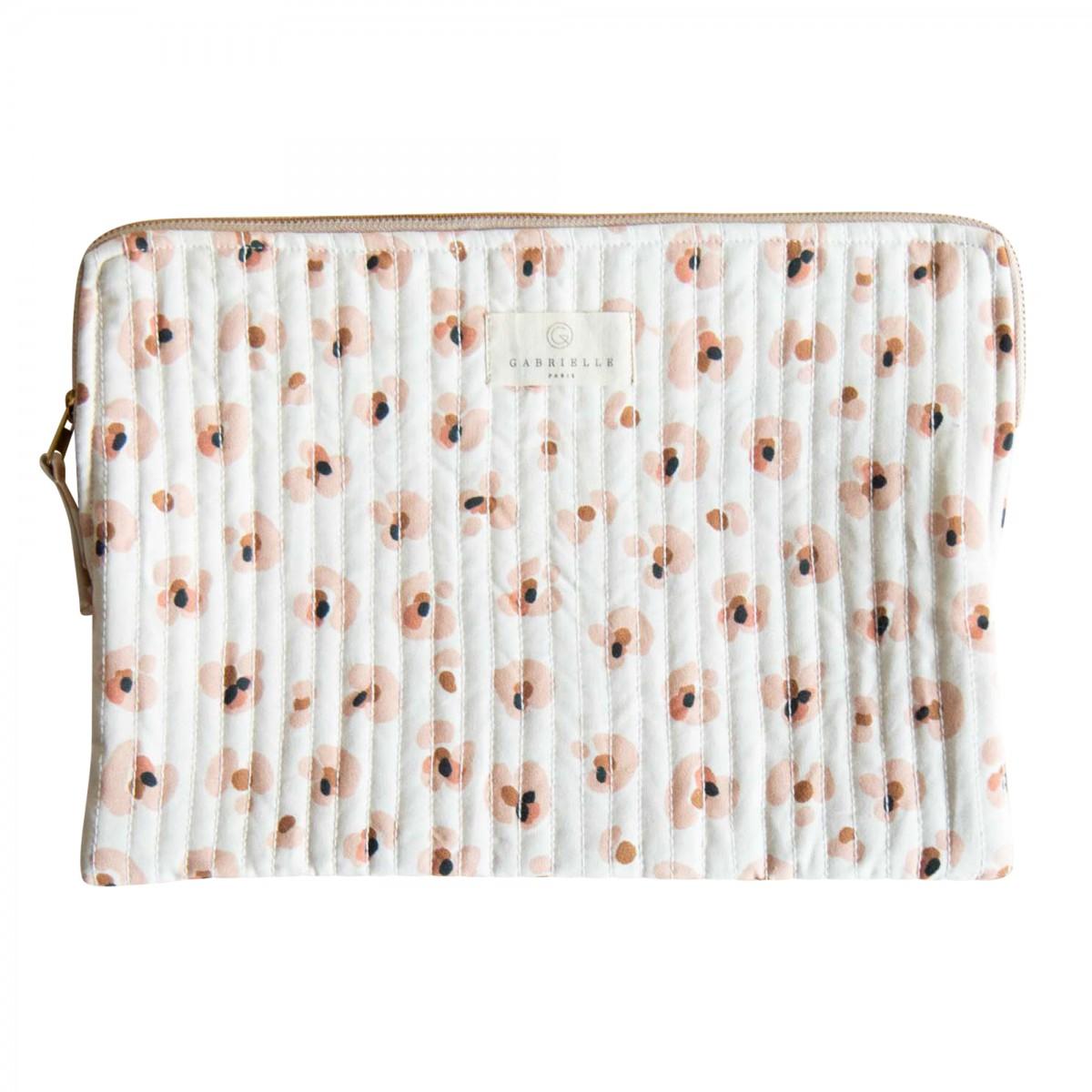 Pochette ordinateur en coton imprimé léopard crème