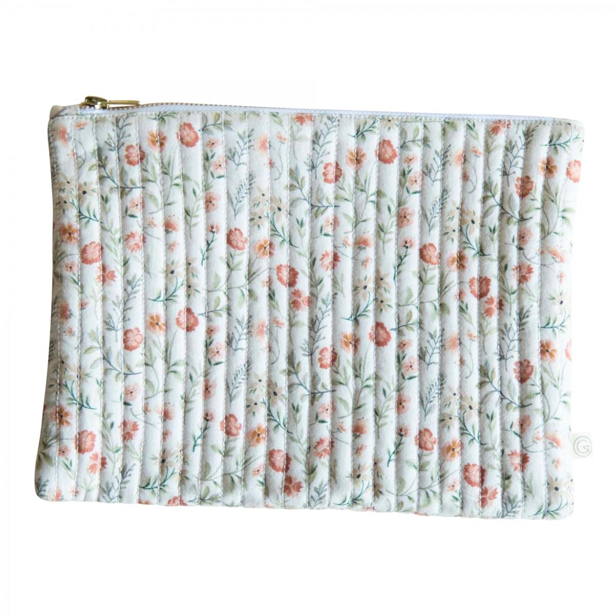 Grande pochette en coton imprimé fleuri crème
