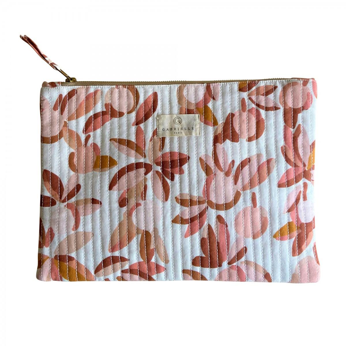 Pochette ordinateur en coton imprimé feuilles rose