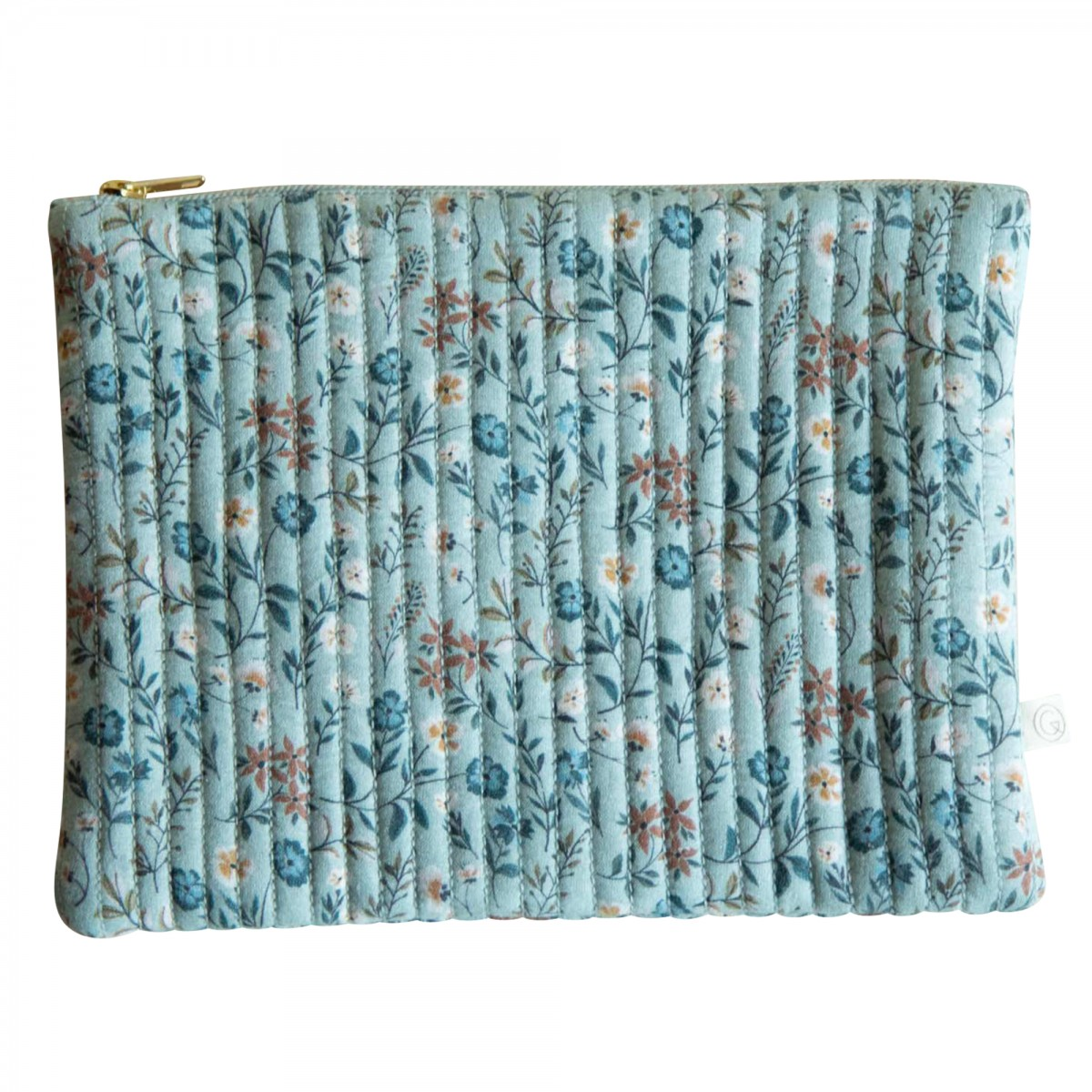 Grande pochette en coton imprimé fleuri bleu