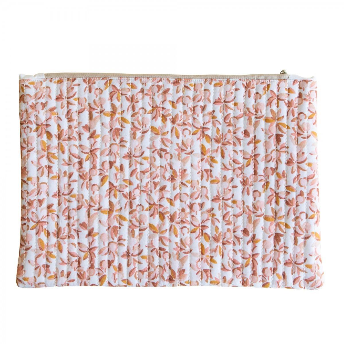 Grande pochette en coton imprimé feuilles rose