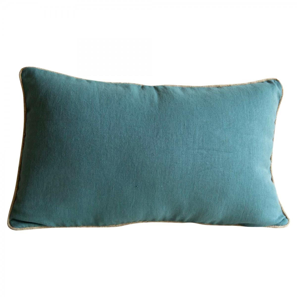 Coussin en lin bleu 40x65