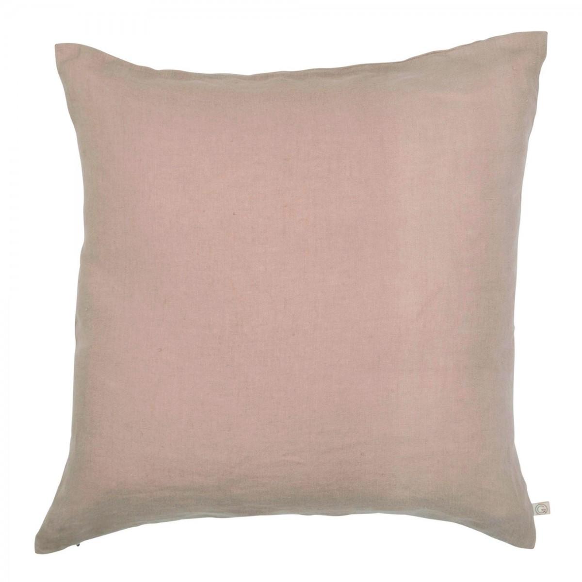 Housse de coussin en lin lavé rose 45x45