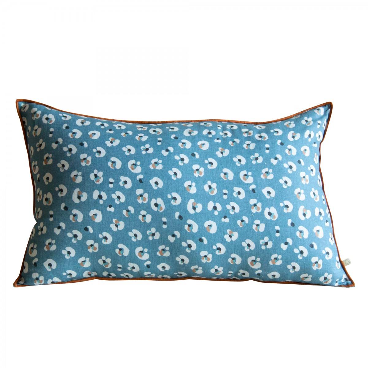 Coussin en lin lavé imprimé léopard bleu foncé 40x65