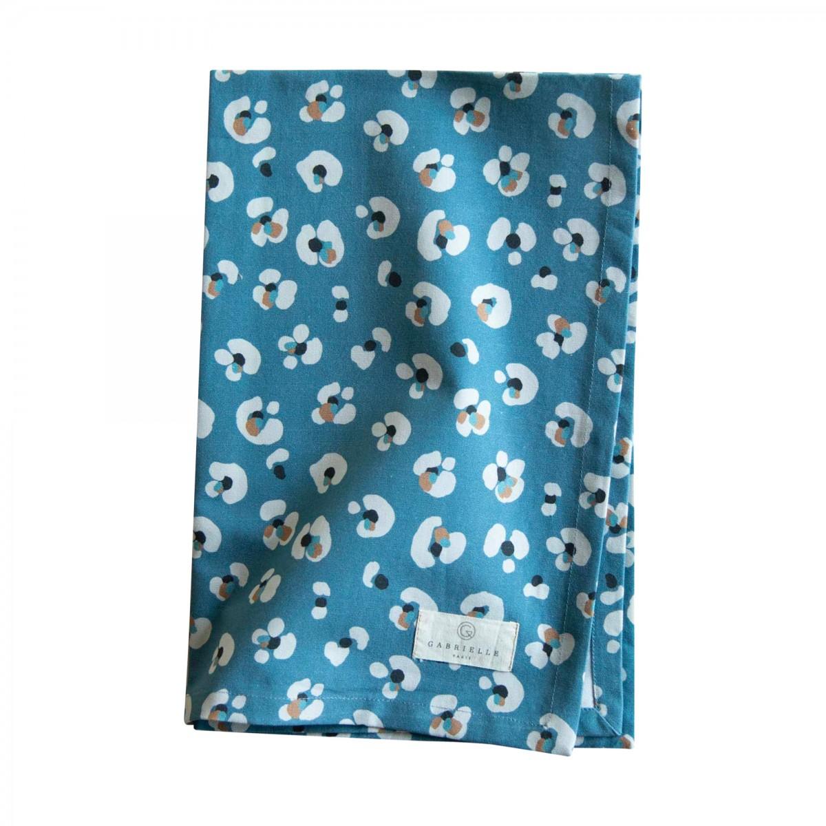 Torchon en coton imprimé léopard bleu foncé