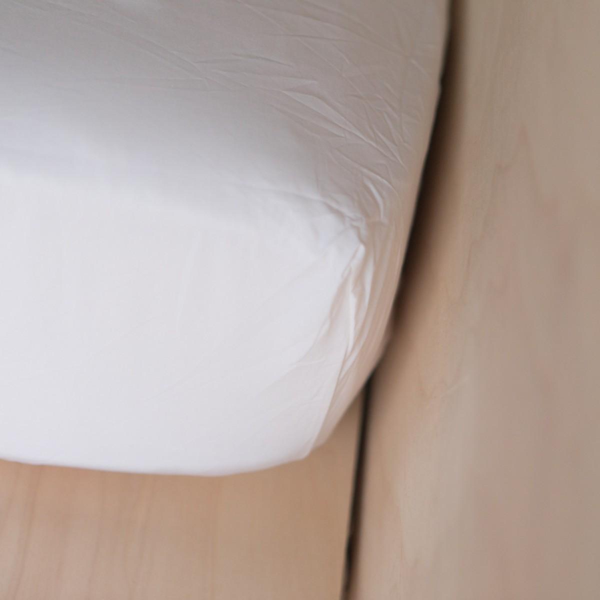 Drap-housse en coton lavé blanc 160x200