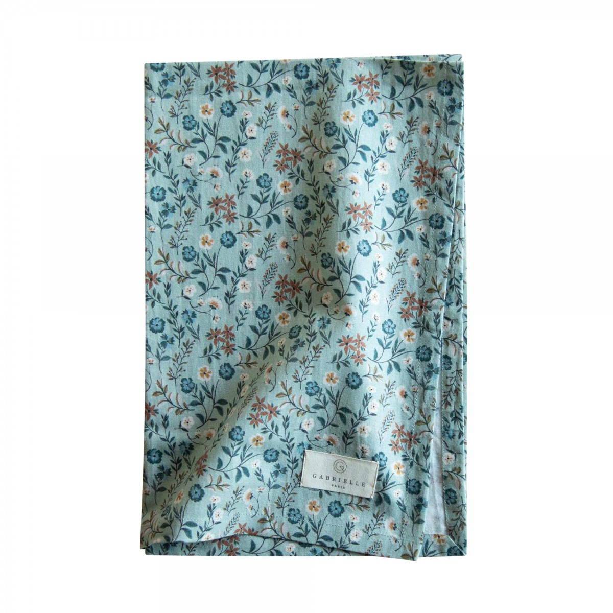 Torchon en coton imprimé fleuri bleu