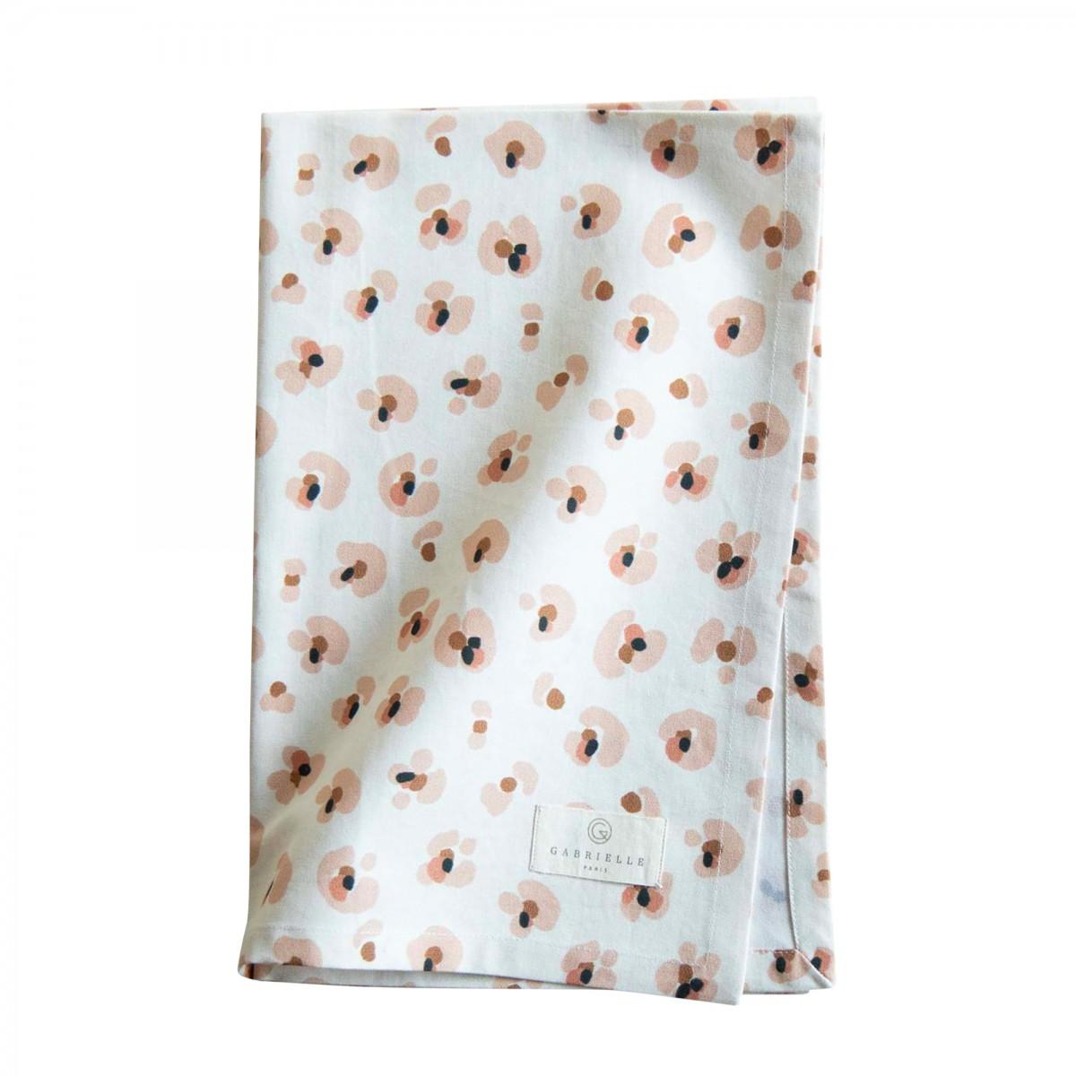 Torchon en coton imprimé léopard crème