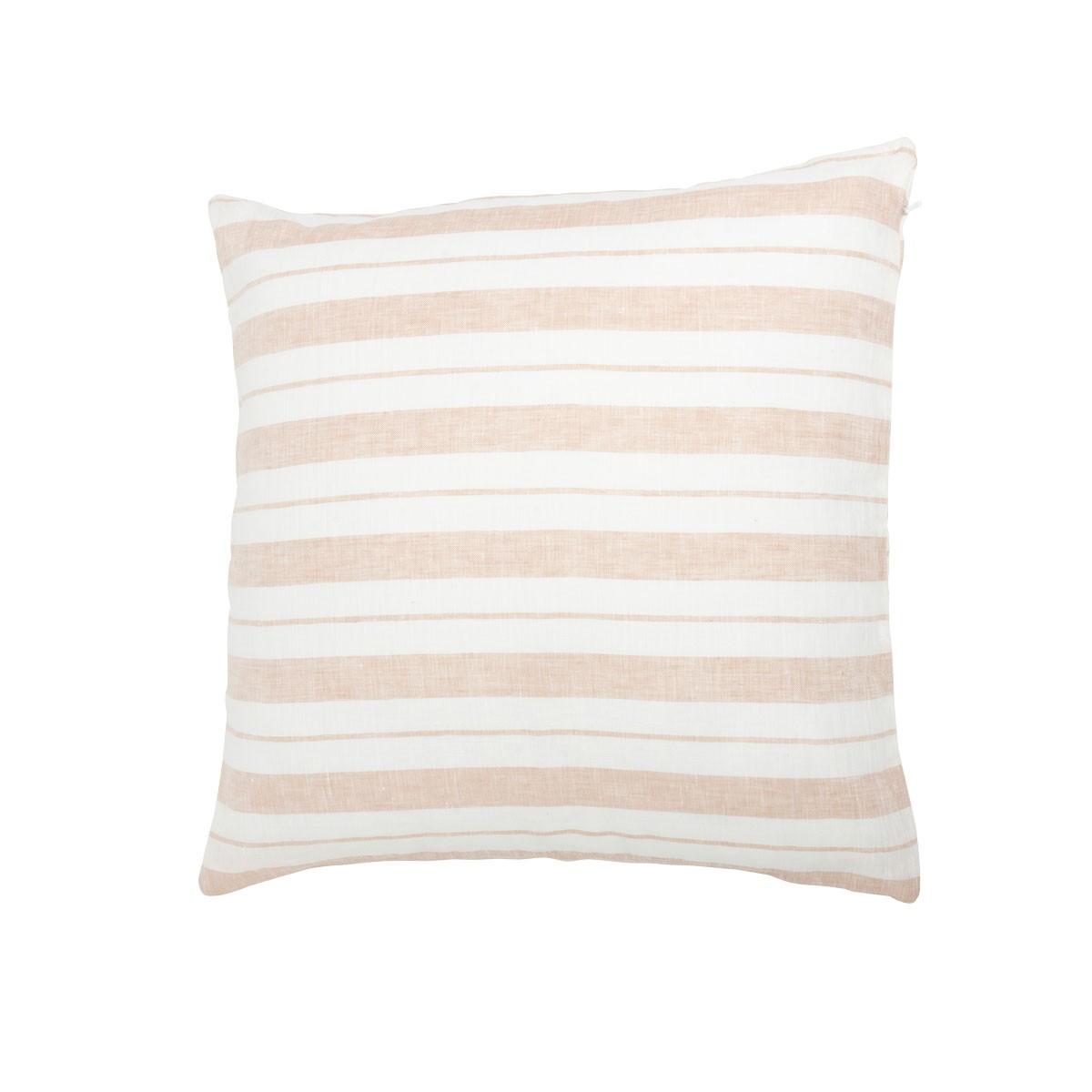 Coussin en lin lavé rayé rose/crème 45x45
