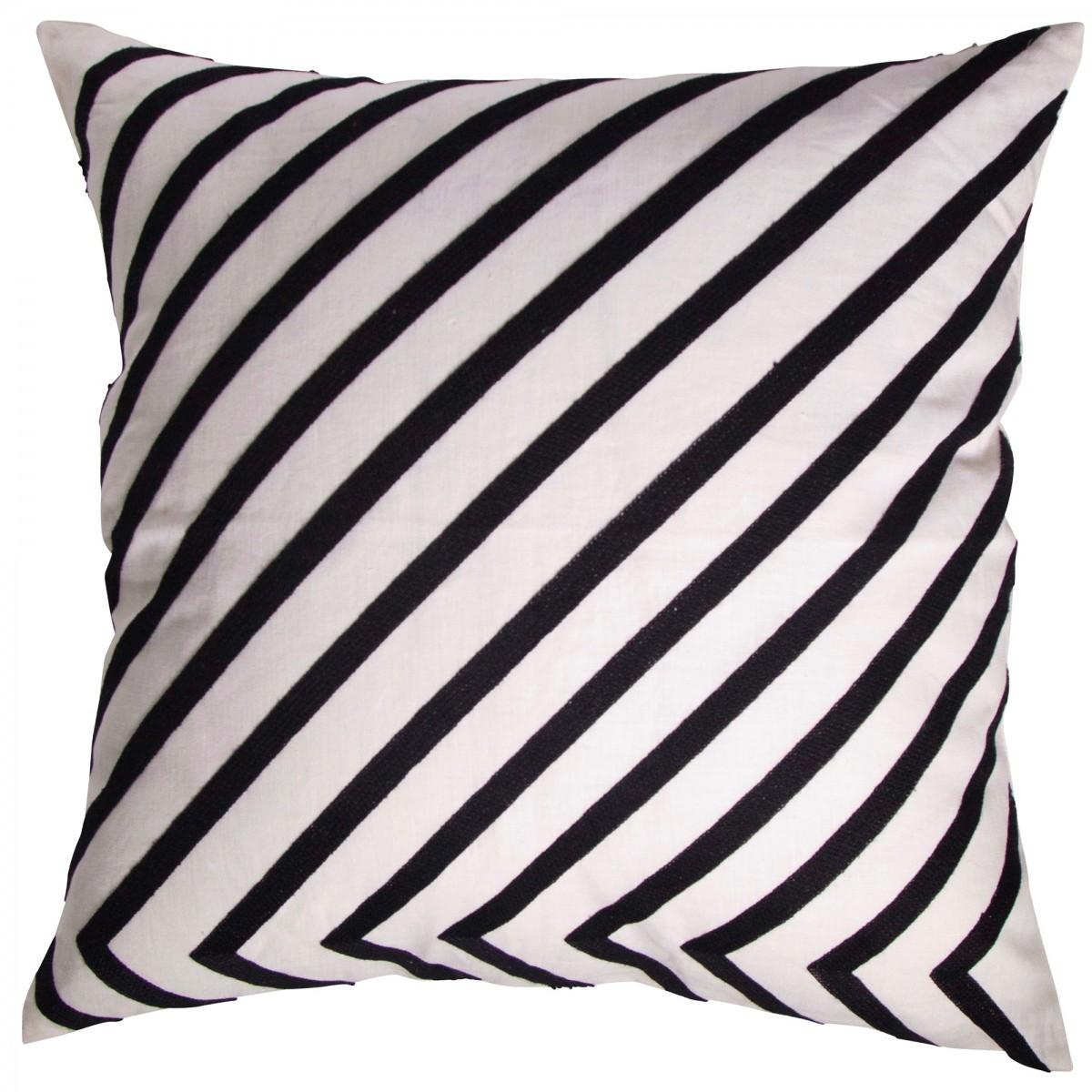Housse de coussin en lin lavé rayé noir et blanc 50x50