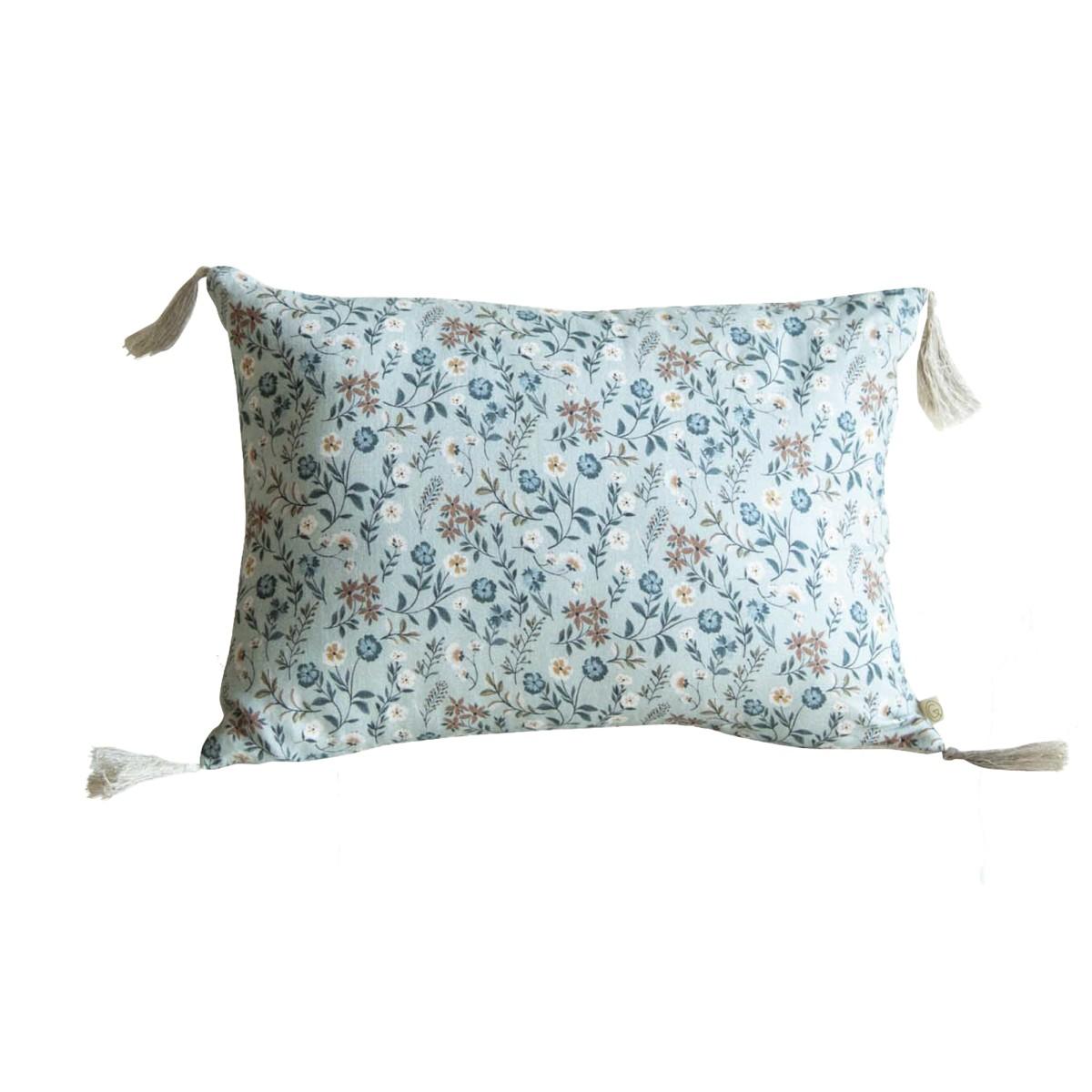 Housse de coussin en coton lin imprimé fleuri bleu 25x35