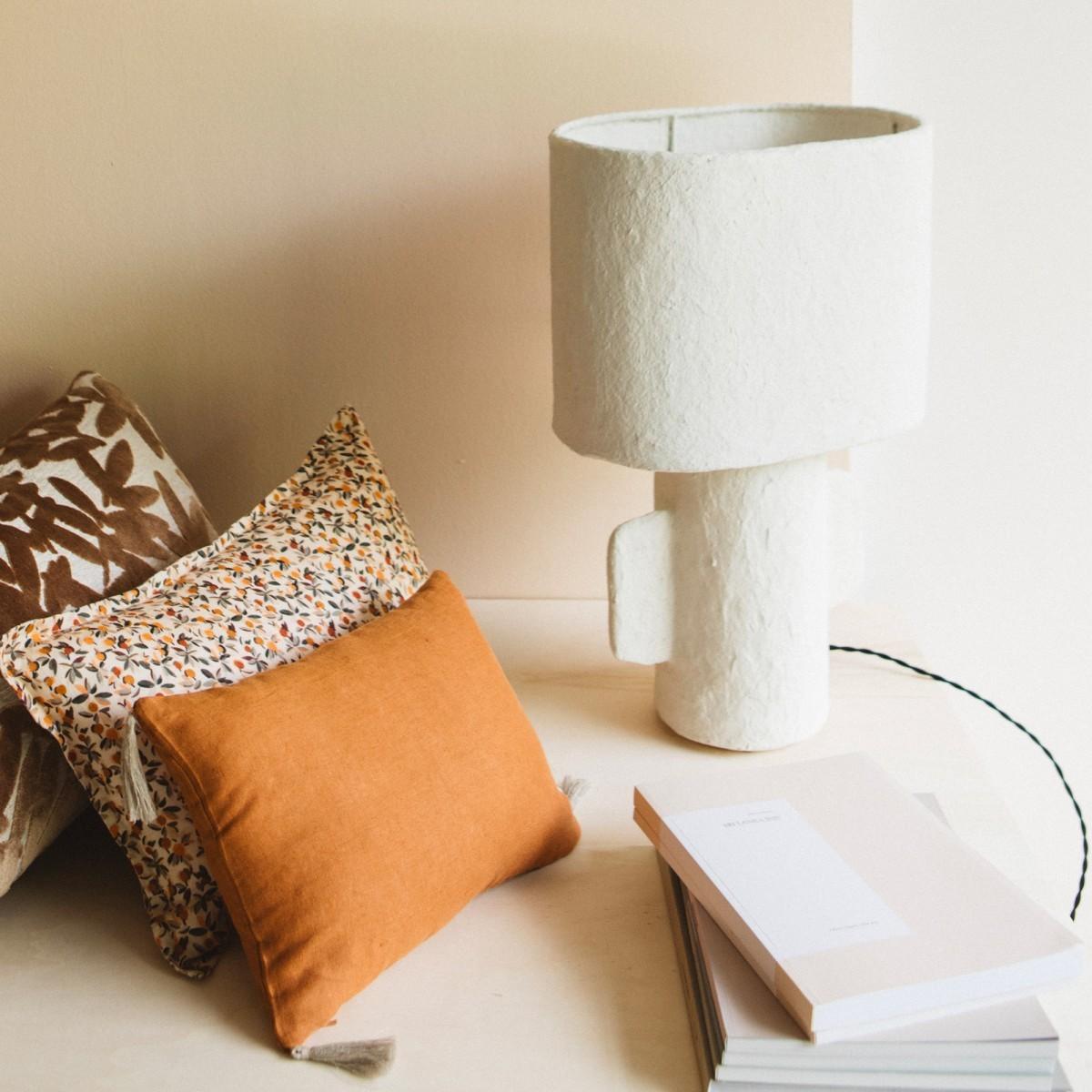 Housse de coussin en lin lavé marron cuivre 25x35