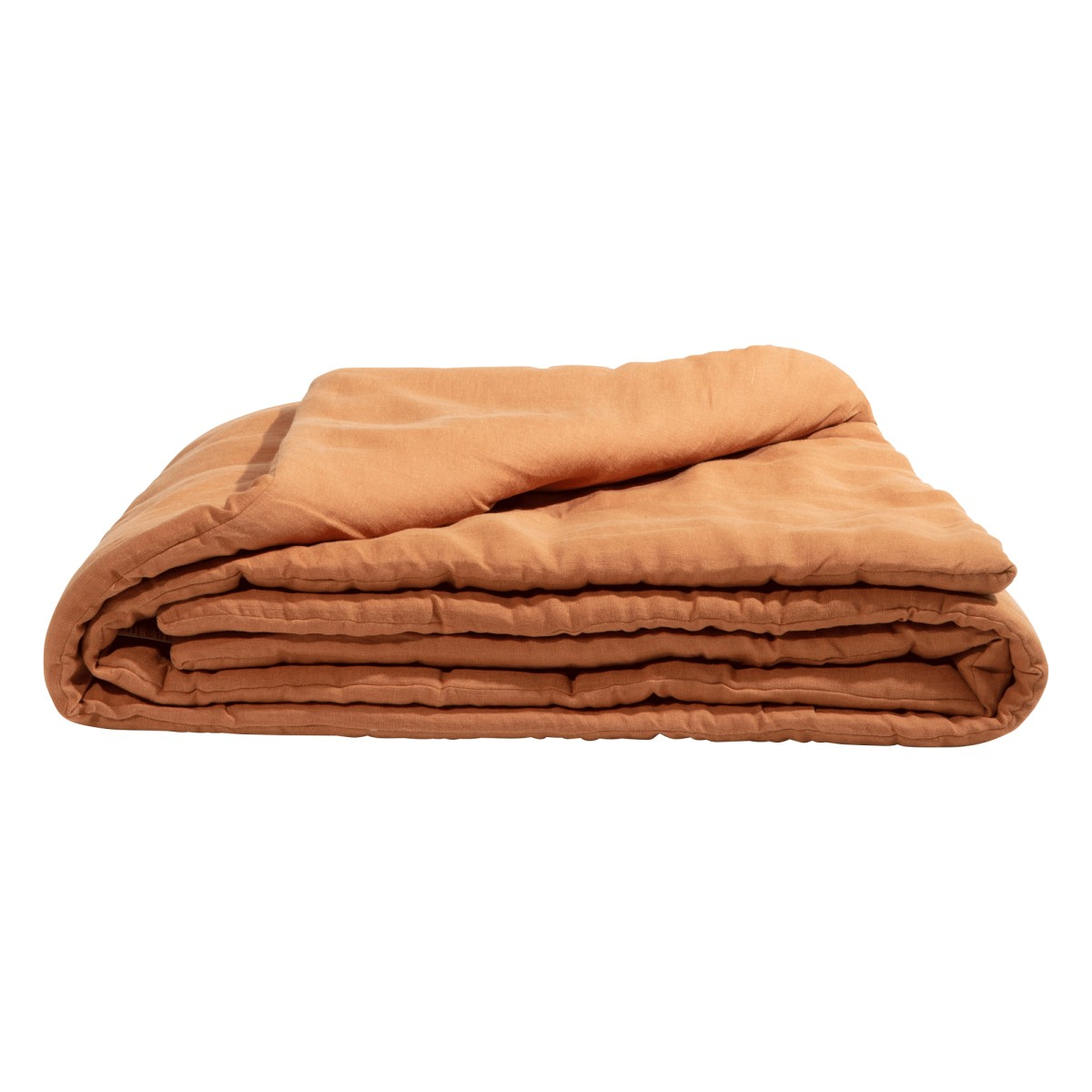 Edredon en lin lavé marron cuivre 90x190