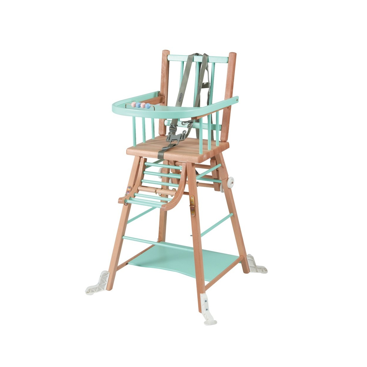 Chaise haute bébé en bois  bicolore vert menthe - 57x95 cm