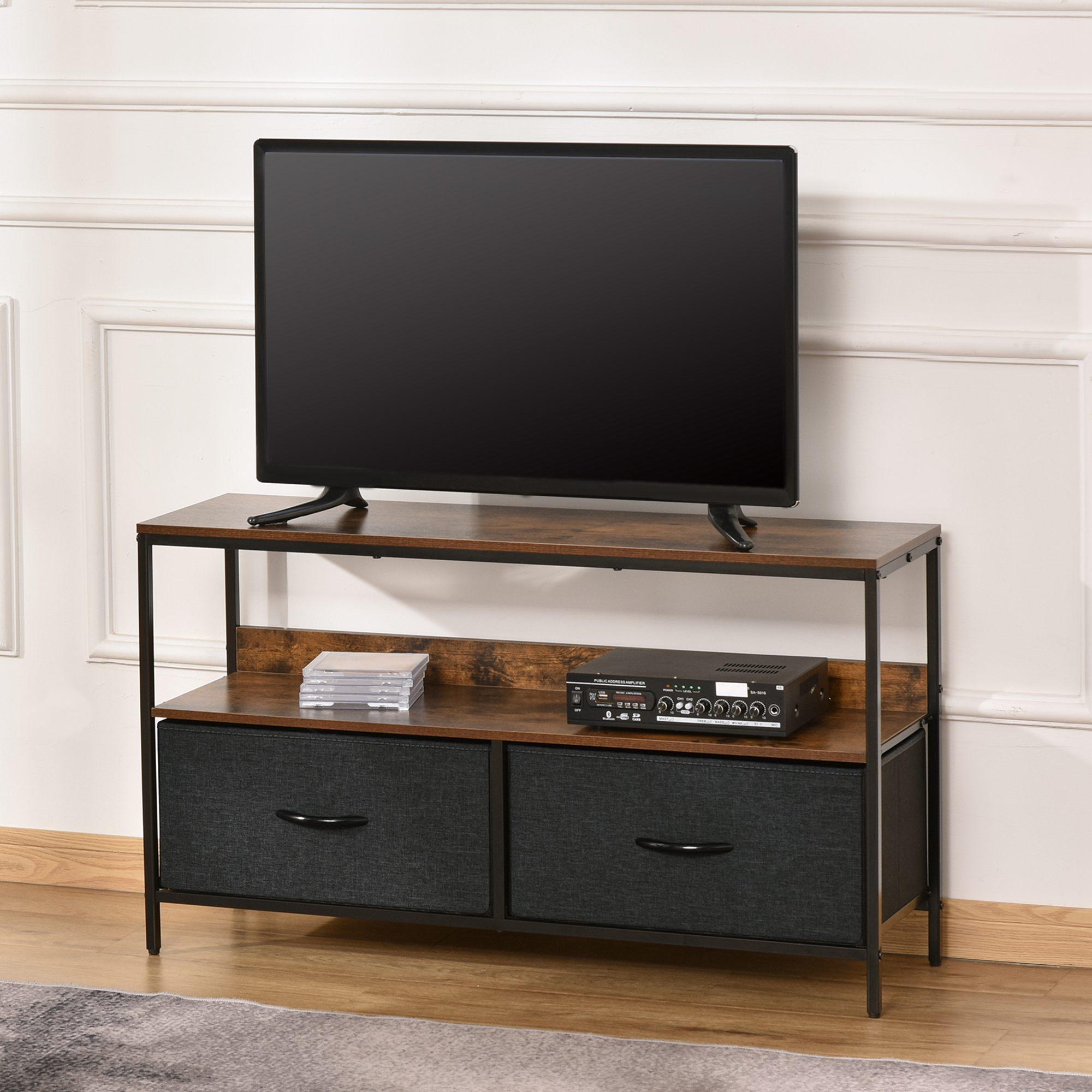 Meuble TV style industriel 2 tiroirs tissu gris métal noir aspect bois