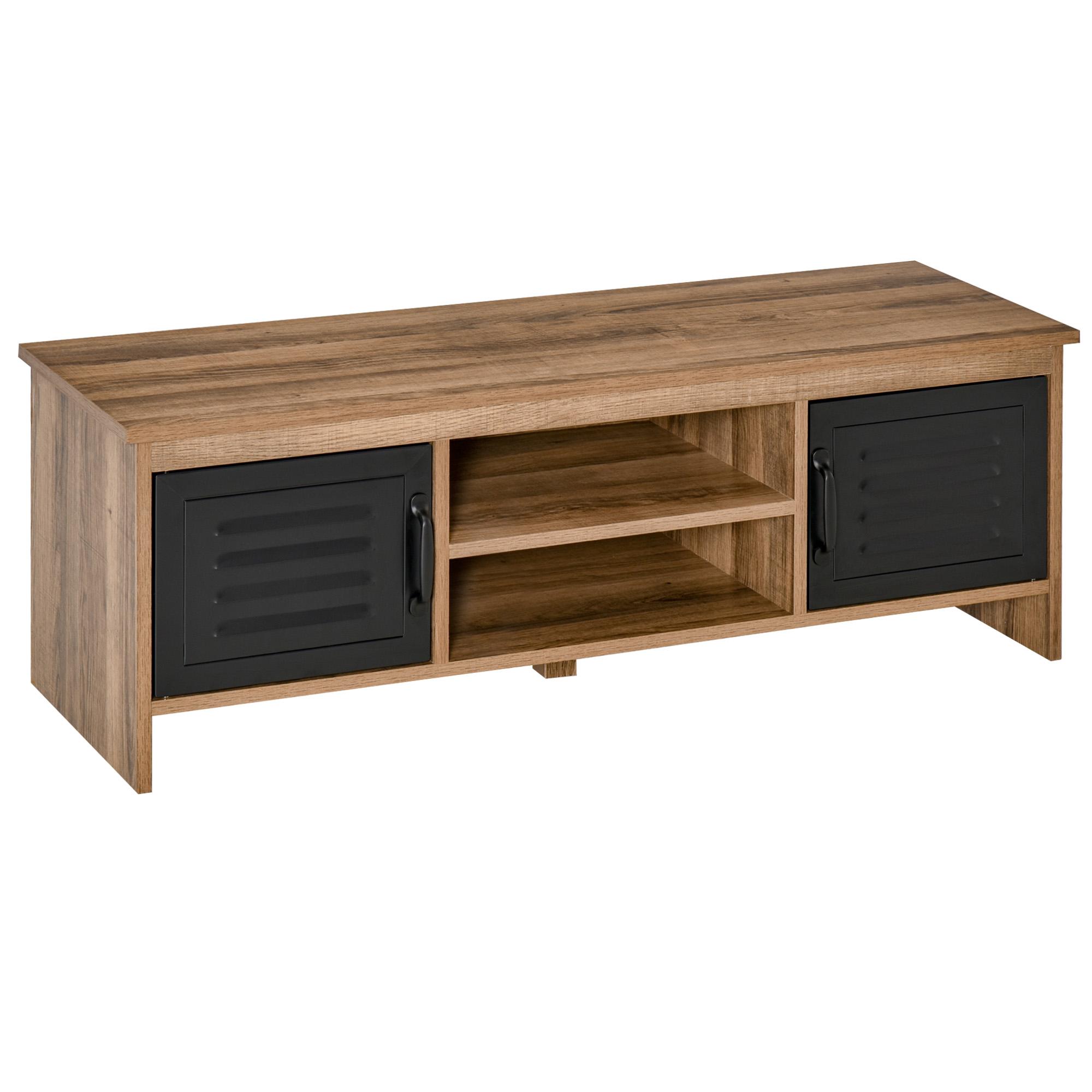Meuble TV design industriel 2 placards 2 niches aspect bois métal noir