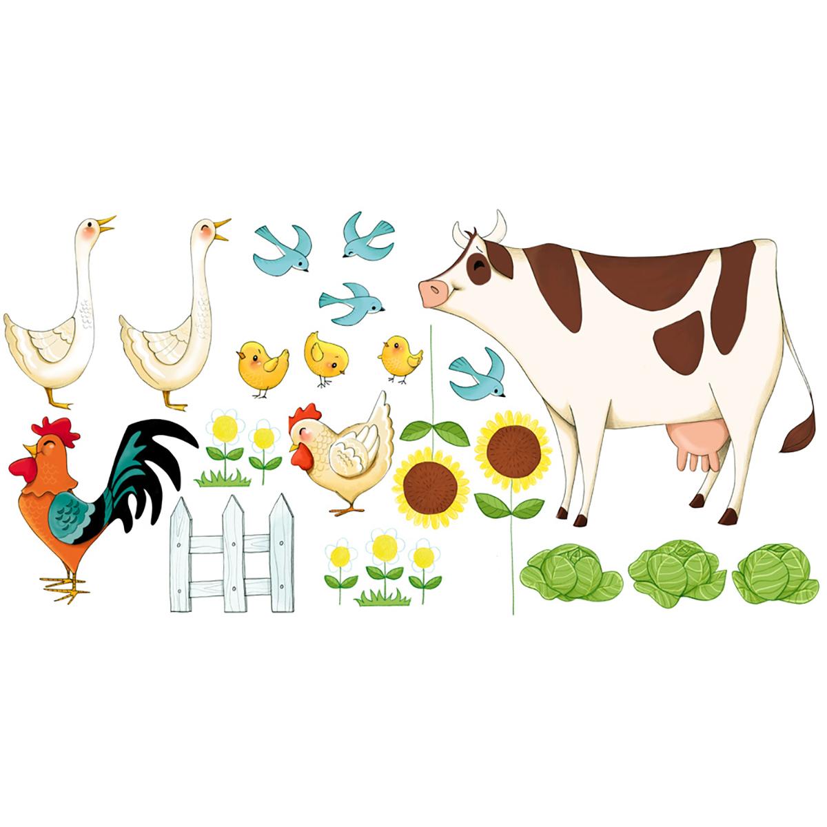 Stickers les animaux de la ferme 60x120cm