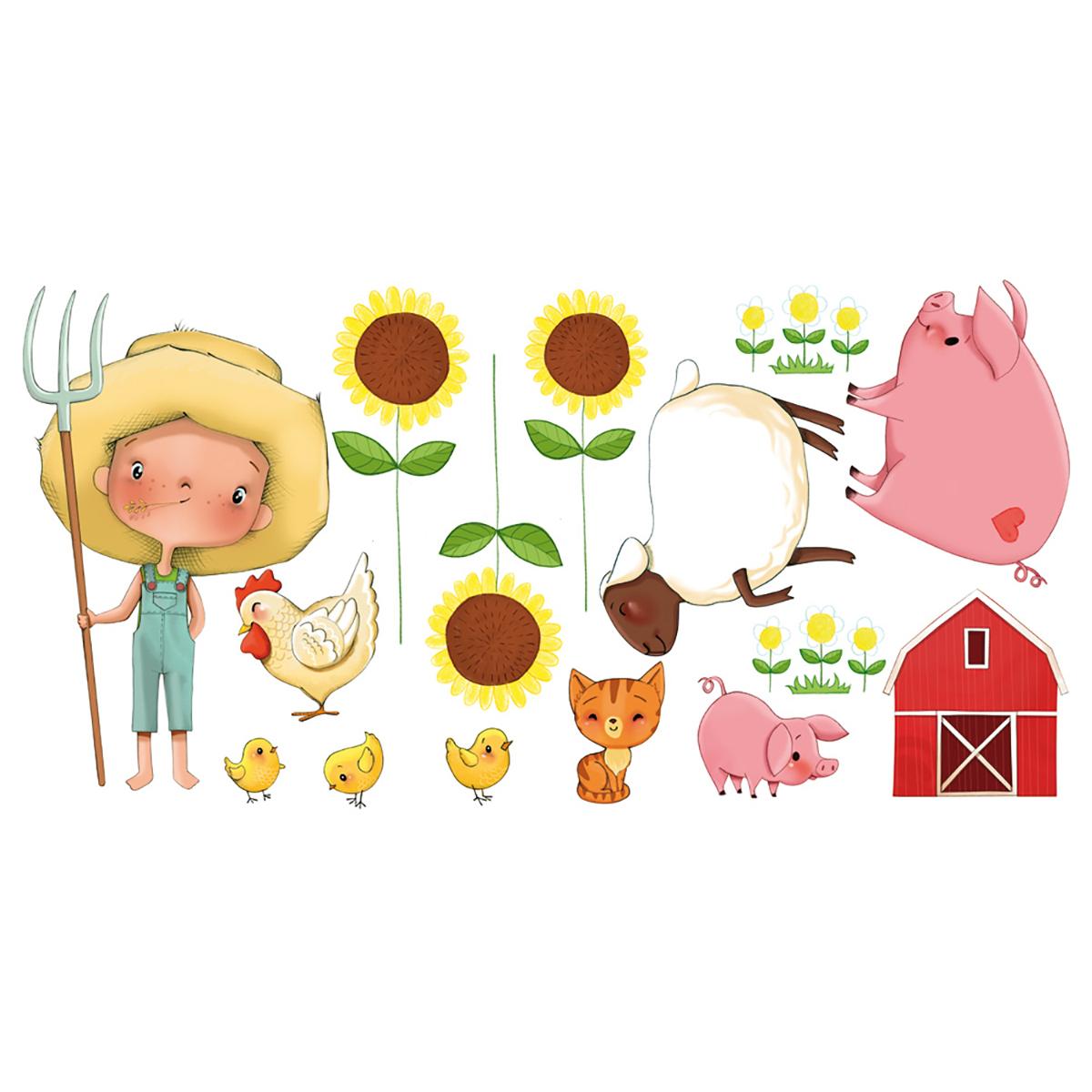 Stickers petit garçon à la ferme 60x120cm