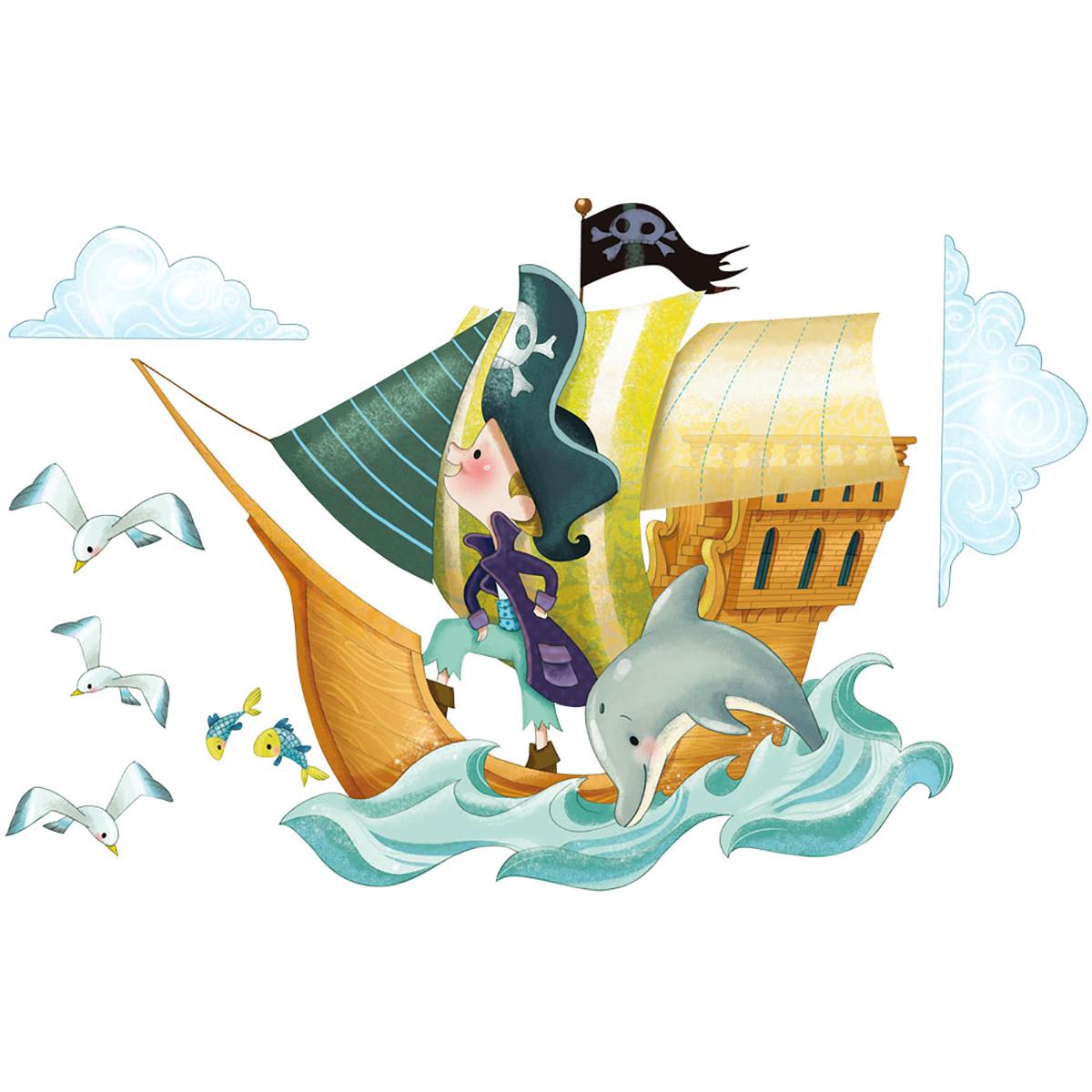 Stickers bateau de pirates 60x110cm