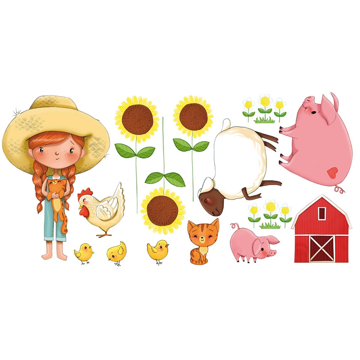 Stickers petite fille à la ferme 60x120cm