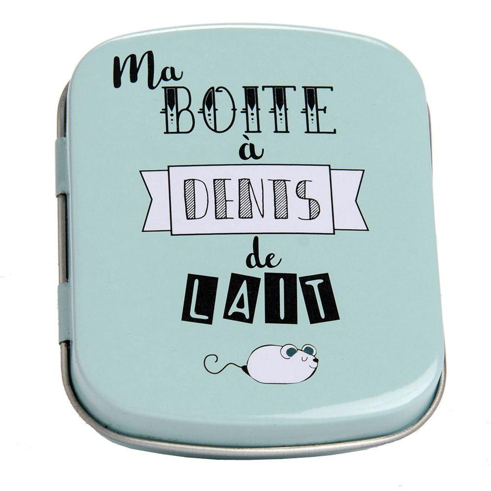 Boîte à dents de lait bleu vert en métal