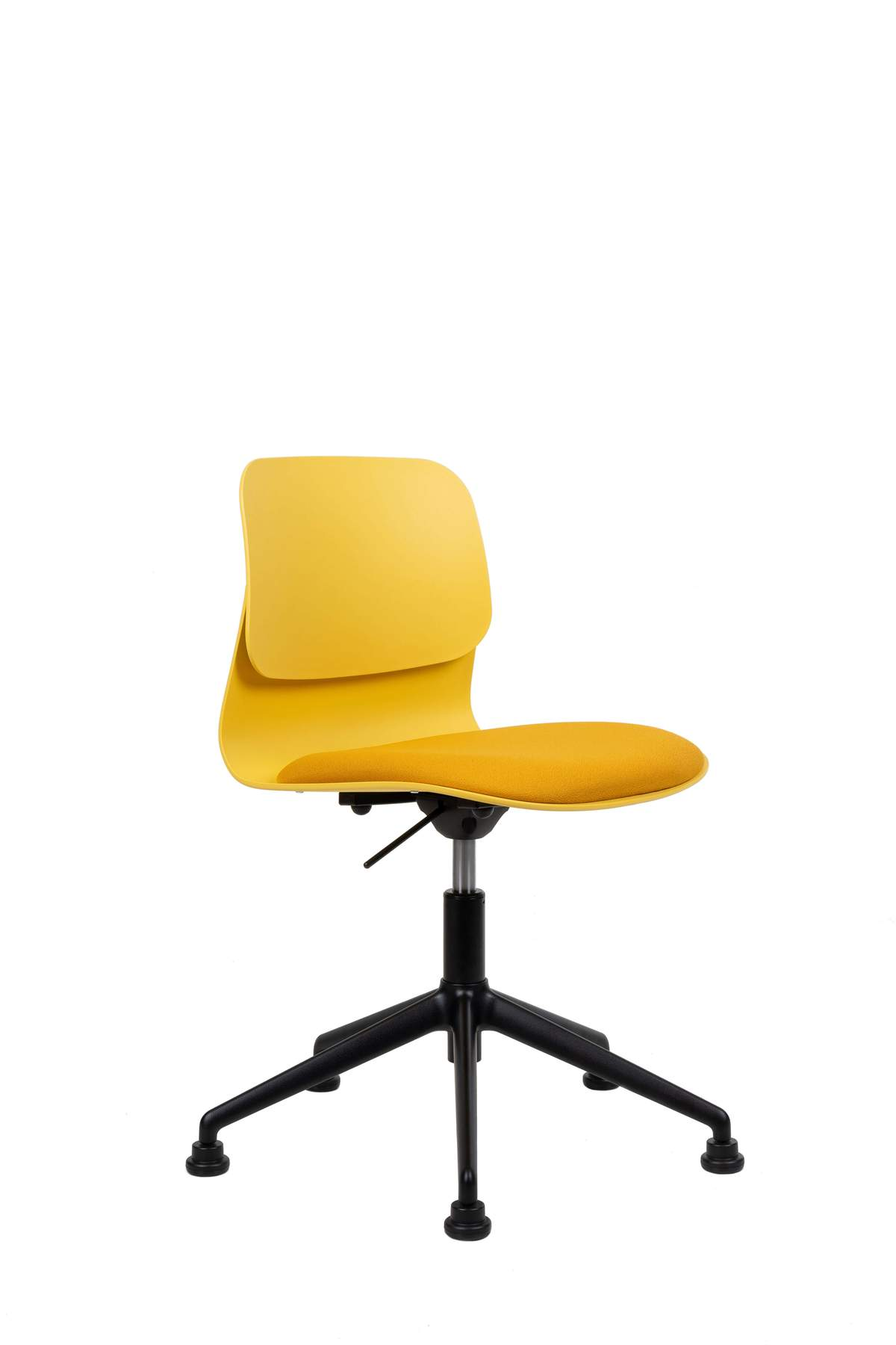 Chaise de bureau design jaune pivotante sur roulettes