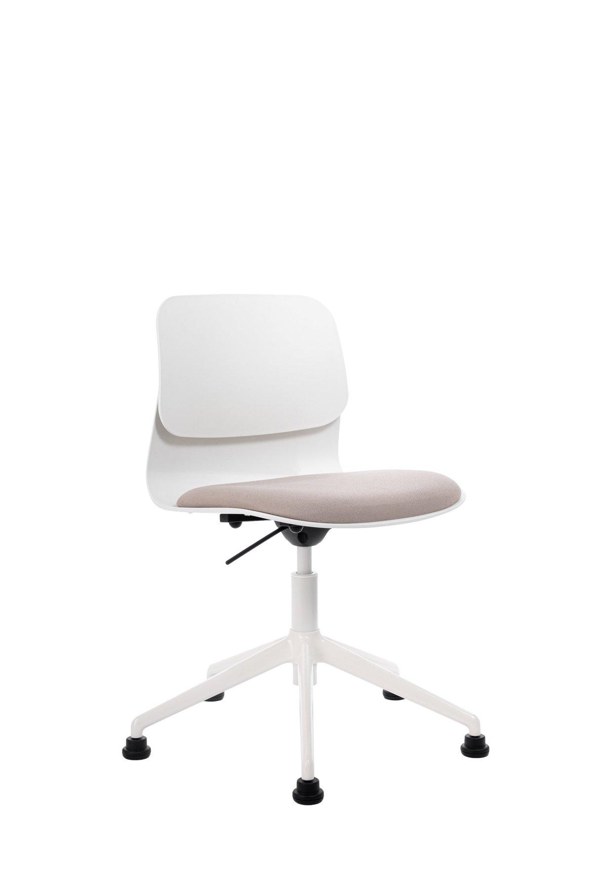 Chaise de bureau blanche pivotante sur roulettes