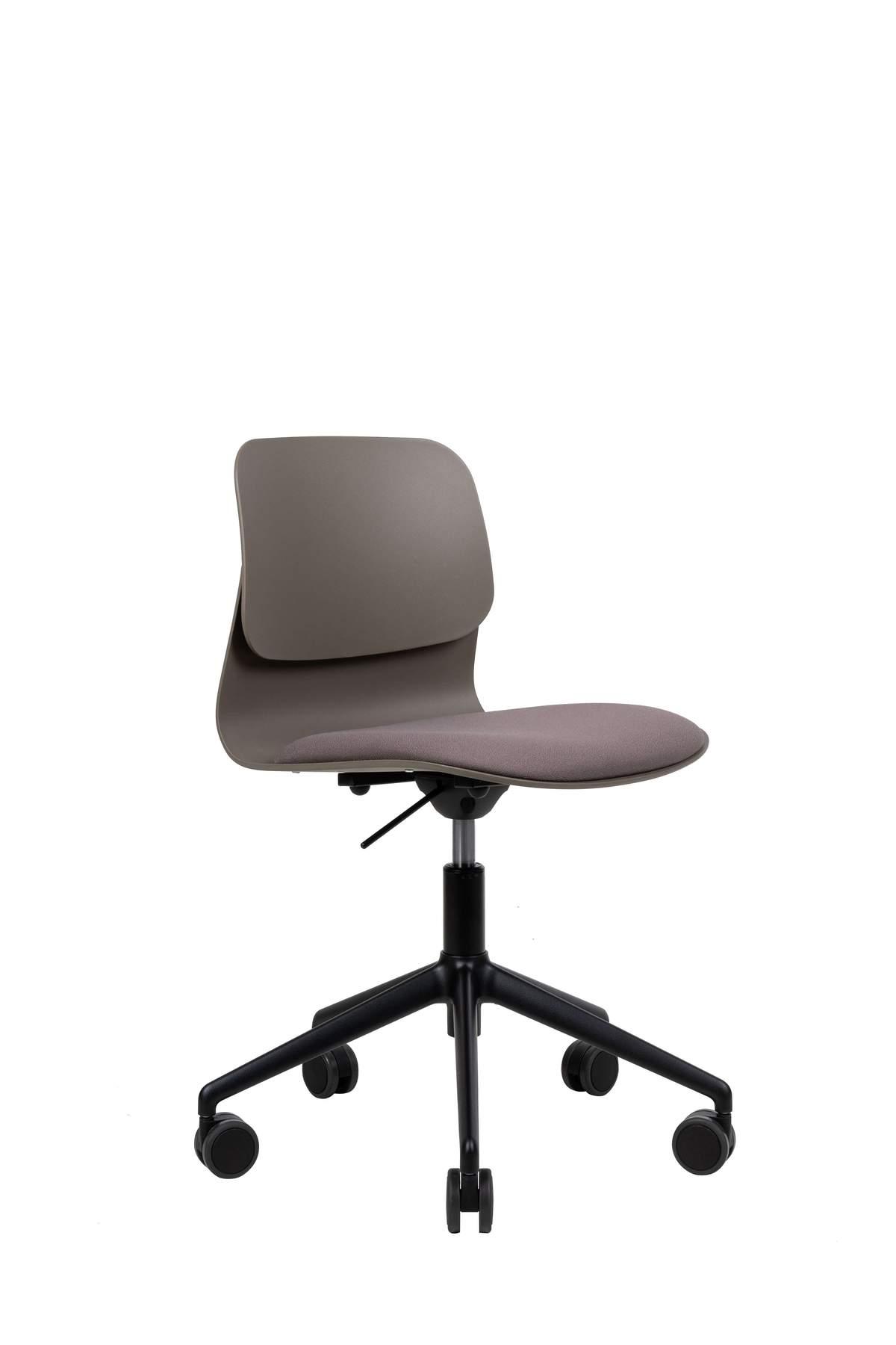 Chaise de bureau design taupe pivotante sur roulettes