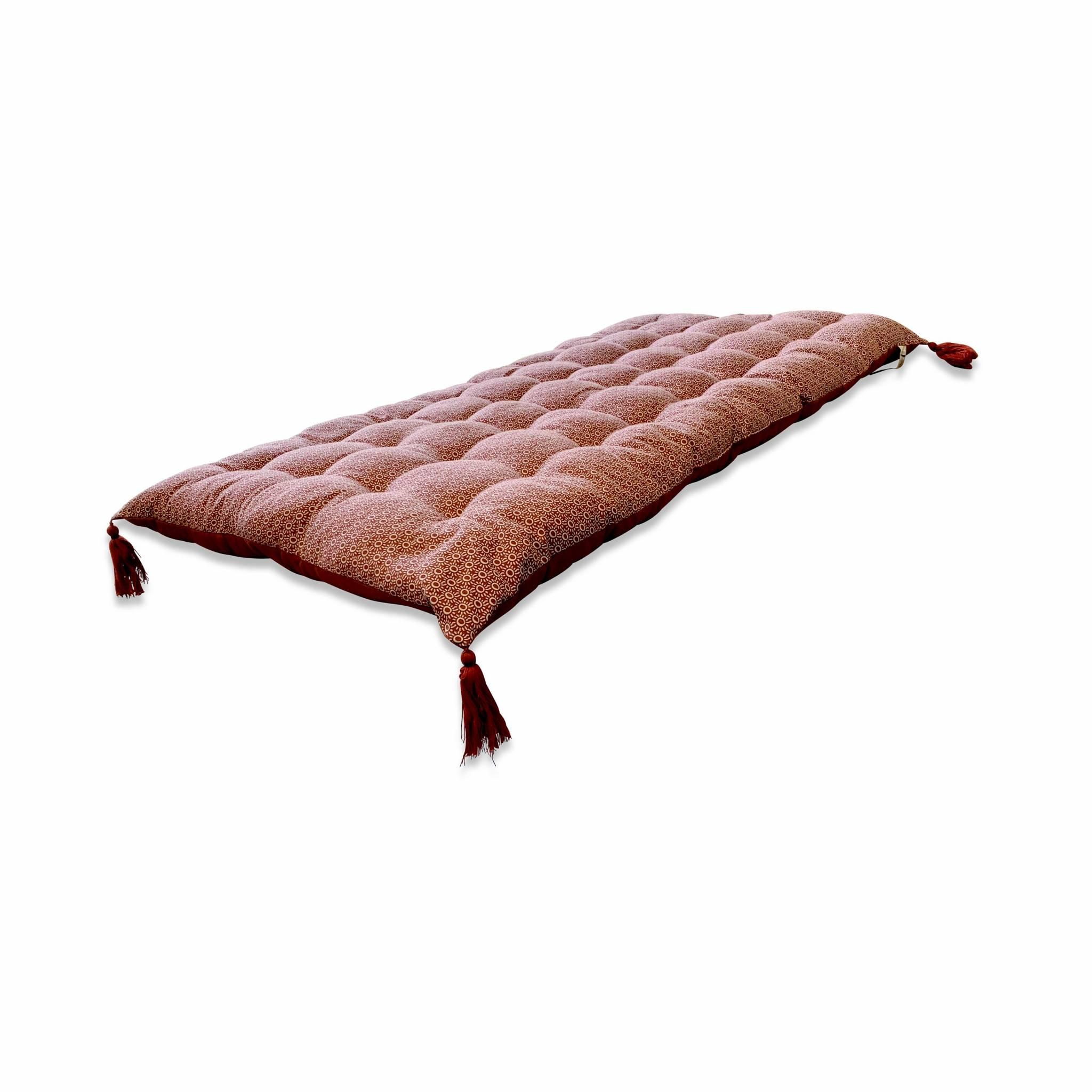 Matelas de sol, réversible, coton, pompons, 120x60cm, terracotta,