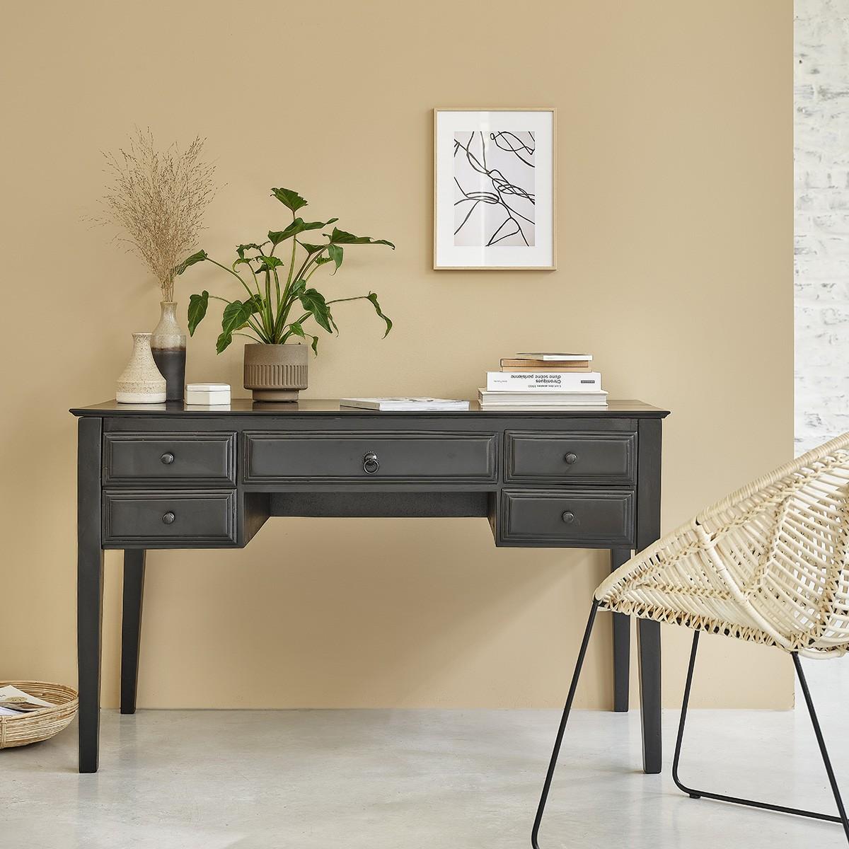 Bureau 5 tiroirs en bois de manguier