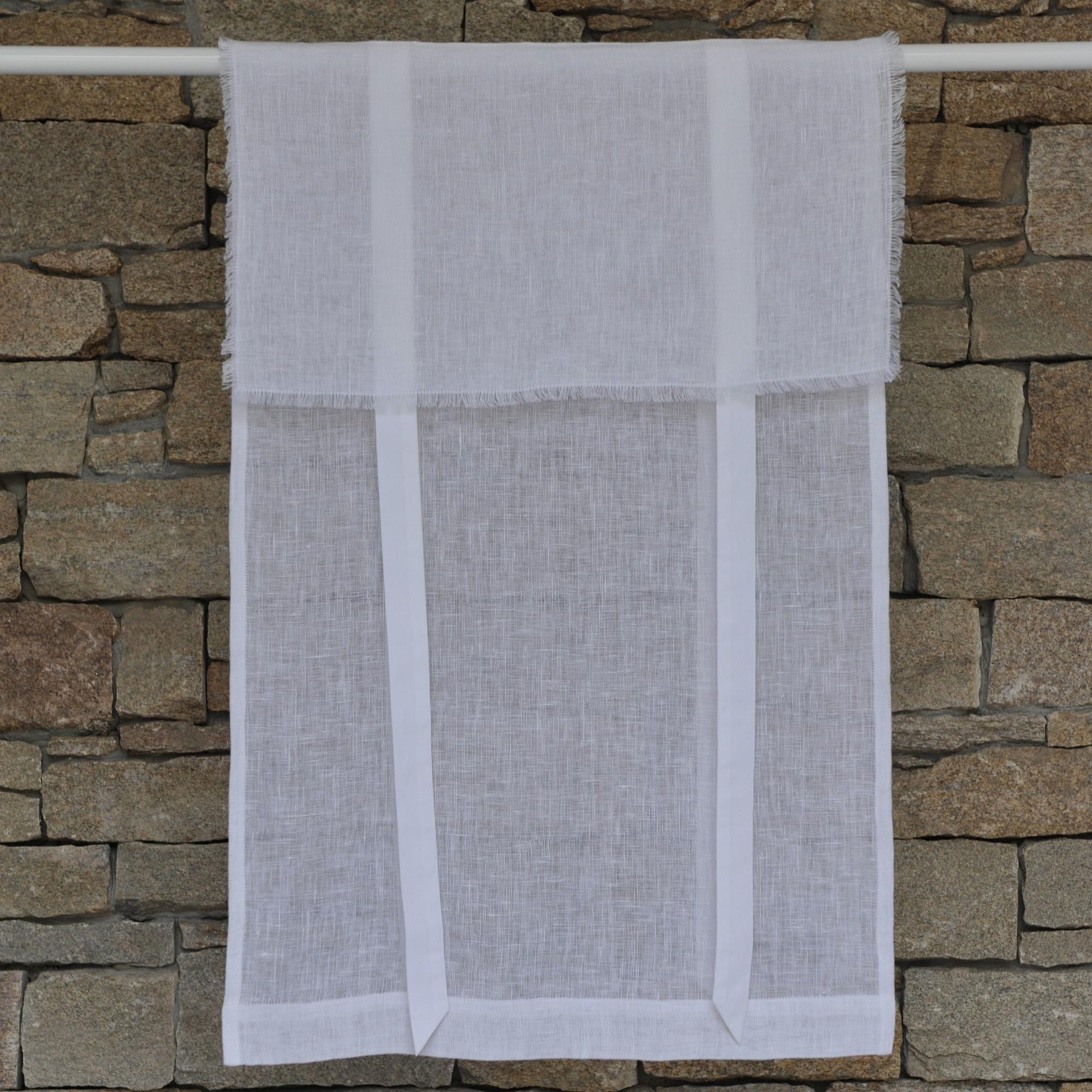 Store en lin blanc avec bords effilochés 35X120 CM