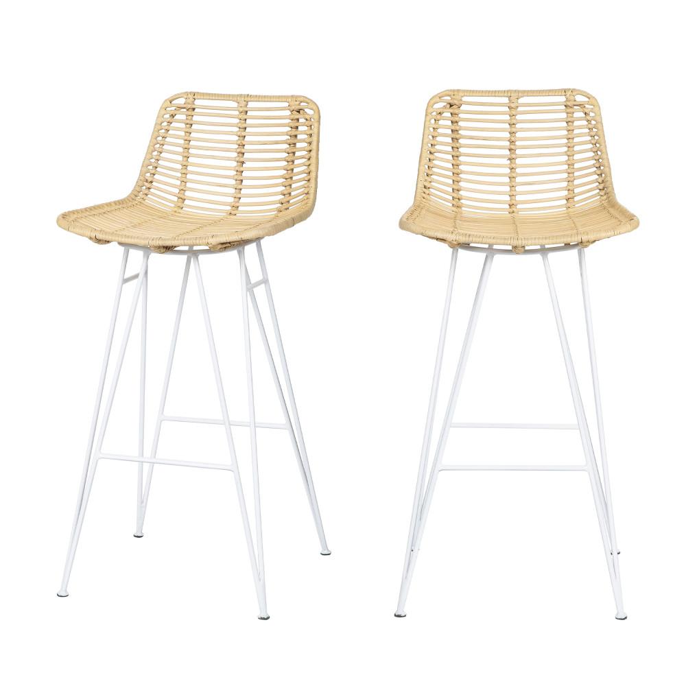 2 chaises de bar design en rotin pieds blancs 67cm