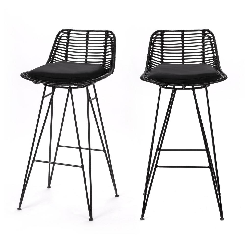 2 chaises de bar design en rotin 67cm noir