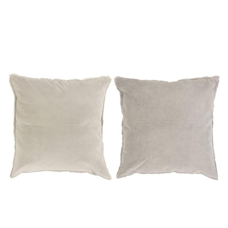 Coussin bord coton/lin beige/gris - Lot de 2