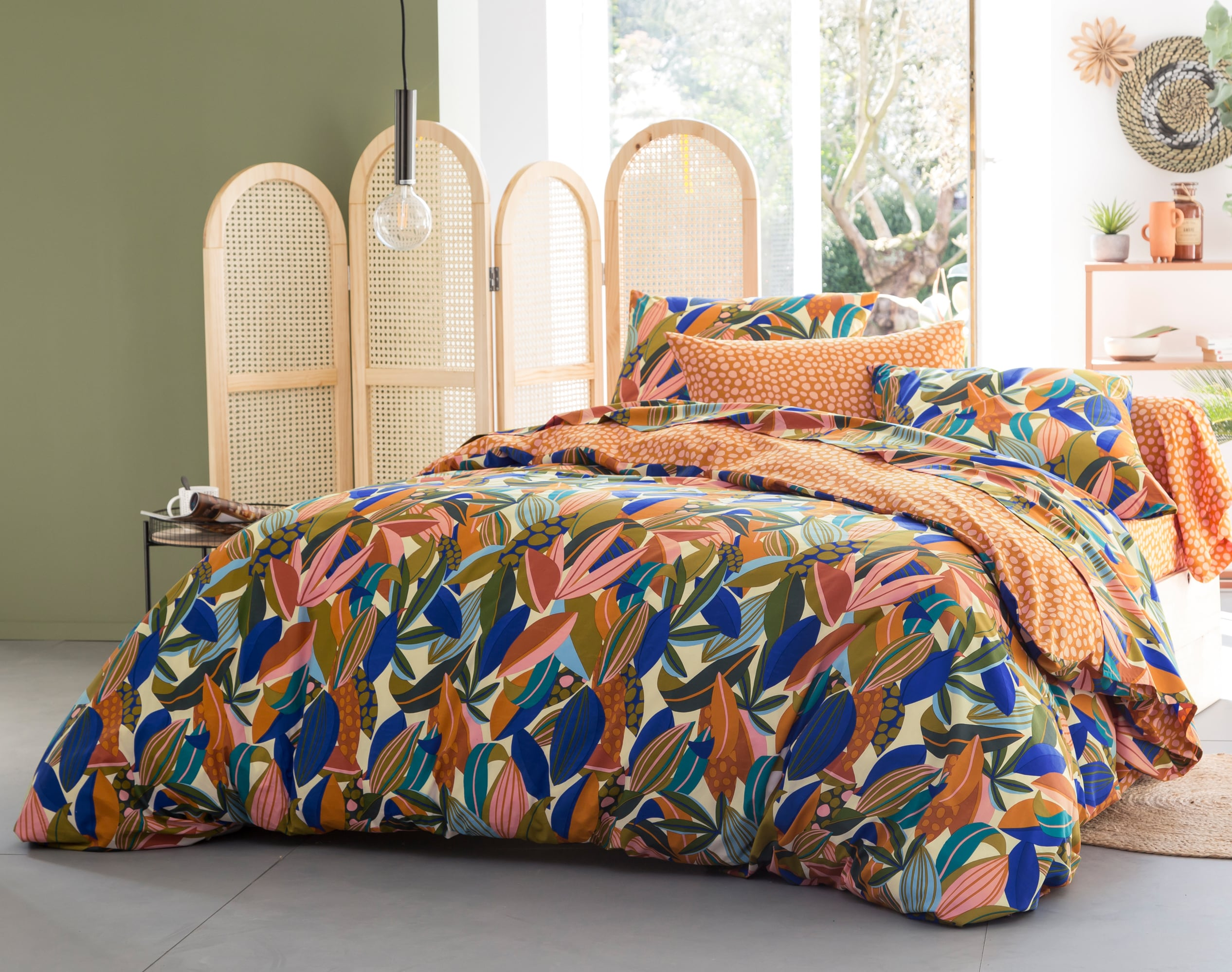 Housse de couette réversible 260x240 multicolore en percale de coton